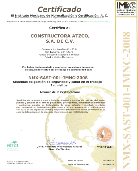 NMX-SAST-001-IMNC-2008 Certification